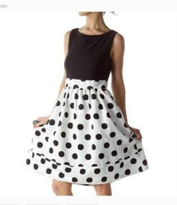 ELIZA J POLKA DOT BLACK & WHITE FIT & FLARE DRESS sz  0
