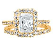 2.20 CT Emerald Cut Halo Bridal Engagement Wedding Ring band set 14k Yellow Gold