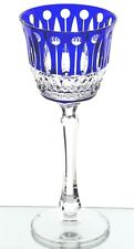 """Faberge Imperial Xenia Cobalt Blue Cut to Clear Crystal Wine Goblet 8.25"""" New"""
