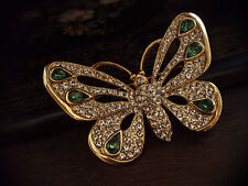 Vintage Butterfly Brooch with Clear & Turmaline Green Crystals