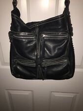 Lucky Brand Crossbody Black Leather Zipper Front Pockets Rare Mint!!!