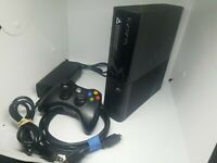 MICROSOFT XBOX 360 E 1538 CONSOLE With CONTROLLER & CABLES Tested Works.