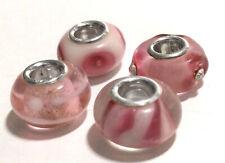 4 x Beads *** AUS ECHTEM SILBER und Glasperle pink rosa