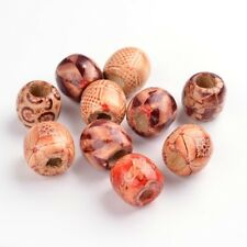 50 Perles en Bois Rondes Baril Tonneau 16mm x 17mm Wooden Beads