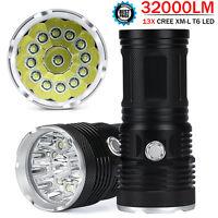 32000 LM 13x CREE XM-L T6 LED Flashlight Torch 4x 18650 Hunting Light Lamp US