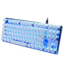 Typewriter Retro Mechanical Keyboard 87 Key LED Blue Backlit Round Keycaps