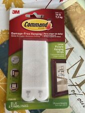 3M Command Large Picture Hanging Strips 4 Pairs Holds 16 Lbs Pounds New
