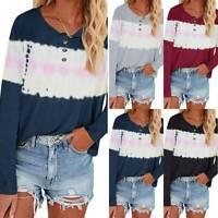 Women Long Sleeve T-Shirt Sweatshirts Casual Loose Pullover Jumper Shirt Tops XL