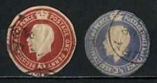 Great Britain Gb 1912? Lot of 2 Registered Cut Squares 3d & 3 ½d Shape Cut Used