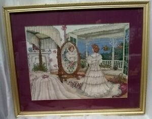 Lovely•Victorian Woman•Matted•Wall Art•Cross Stitching Decor•21x17 WITHOUT FRAME