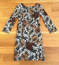 MARNI Sz 38 Dress Leaf Print Gray Brown Sheath Exposed Back Zip