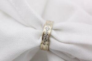 9ct Gold Pattern Diamond Wedding Band Size L 1/2 3g Ring - 0714005