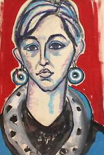 Vintage expressionist woman portrait gouache/pastel painting