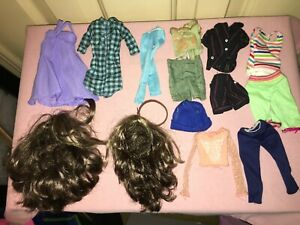 Fashions & Two Brunette Wigs for Liv Dolls - previously worn