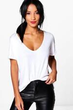 Magliette da donna bianchi con scollo a v