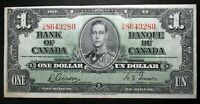 """OLD CANADIAN BANK NOTES 1937 BANK OF CANADA $1 **Gordon & Towers** """"G/M"""" EF"""