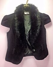 Tally Weijl Woman's M133 Vest Faux Fur Black Size XS Cap Sleeve 2 Button Lined