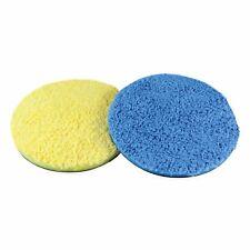 Microfibre Pads 160mm Yellow & Blue Velcro Back Machine Polishing Car Detailing