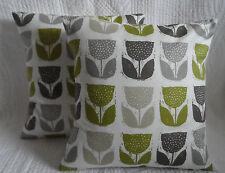 "16"" Cushion Cover Lime Green Grey Cream Tulip Flower Print Handmade New 40cm"