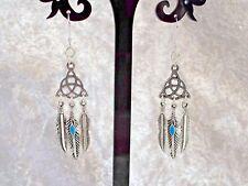 Tibetan Silver Celtic Trinity Knot 925 Sterling Silver Hook Earrings.Handcrafted