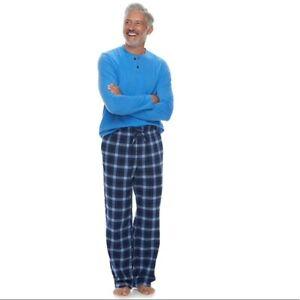 Croft & Barrow Men's Henley & Plaid Flannel Pajama Sleep Set - Large (Blue