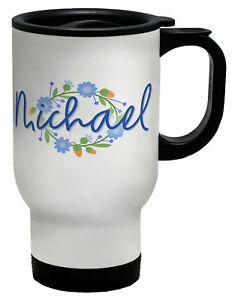 Personalised Name Flower Circle Blue Travel Mug Cup