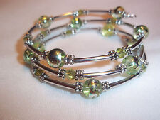Hand Crafted Memory Wire Wrap BRACELET w/ GREEN Glass Beads Beach Gypsy E-61