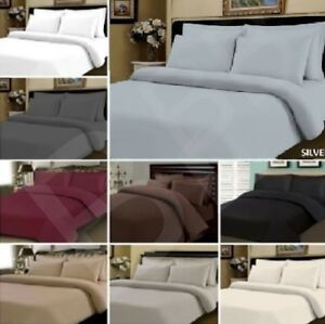 New 100% Egyptian Cotton 400 TC Duvet Cover Bedding Bed Set White Fitted Sheet