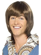 Brown 1970's Disco Heartthrob Wig Adult Mens Smiffys Fancy Dress Costume