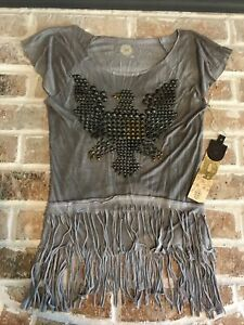 DOUBLE D RANCH WEAR STUDDED EAGLE KNIT SHIRT NWT