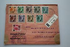 Luxembourg mit Preisüberdruck - 10 Werte - auf Offenbach / Main - R-Brief 1941