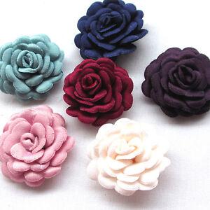 Upick 12PCS Felt Padded Ribbon Flowers Bows Peony Appliques Craft Mix