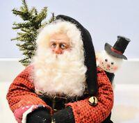 "Artist Made Christmas SANTA & SNOWMAN Figure Hand Signed LINDA COWELL 13"" OOAK"