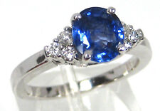 Blue Sapphire Ring Solitaire 18K White Gold Ceylon Natural Heirloom
