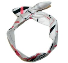Dolly Tie-Up Fabric Headband, Retro Style, Wire-in Black Hair Accessory