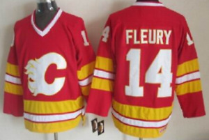 Calgary Flames Red Theo Fleury Jersey M, L, XL, XXL, 3XL