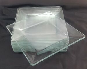 """Clear Glass Square Dinner Plates 10-1/4"""" inch square, 10-Plates GOOD CONDITION"""