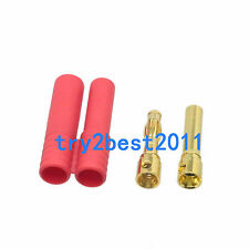 """""""Wide mouth"""" HXT 4MM Bullet Connector Plug & Housing Set - Good For 10awg Wire"""