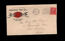 Japanese Fan Co New York Sta A 1903 Cover Rising Sun & Cranes 2s