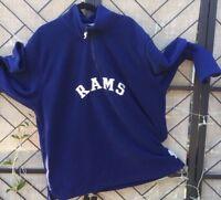 Los Angeles Rams Football Pull Over L/S Men's Navy Fleece 1/4 Zip NFL Sz XL