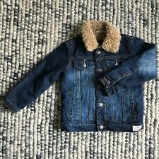 COUNTRY ROAD Boys Size 4 Blue Denim Jacket With Faux Shearling Lining Winter