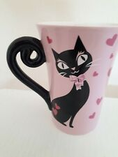 Pink black cat Mug