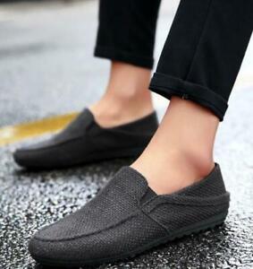Fashionable Men's Breathable Non-Slip Driving Lok Fu Linen One Pedal Flat Shoes