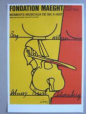 VALERIO ADAMI affiche originale litho Moments musicaux Violon Berg Ravel Italia