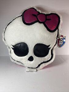"""NEW Mattel Monster High Glam Skullette Cuddle Pillow 16"""" x 15"""" Skull Pink Black"""