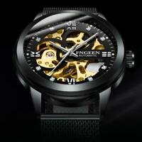 Skeleton Automatic Mechanical Watch Men's Stainless Steel Band Wristwatch Men