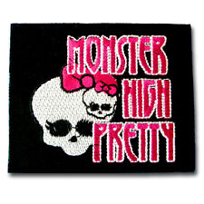 Monster High Pretty Patch Iron on Biker Punk Harley Badge Jacket Racing Skull