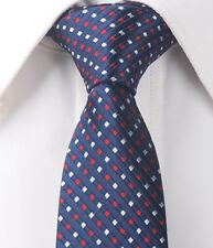 "Dark Blue White Stripes Mens Skinny Slim Narrow Woven Silk 2.5"" Wedding Tie L236"