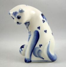 Russian Gzhel Small Cat Figurine Blue White Porcelain Signed Hand Made In Russia