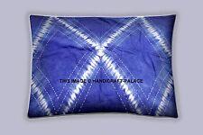 Tie Dye Shibori Kantha Pillow Cover Blue Cushion Sofa Throw Indian Bohemian Sham